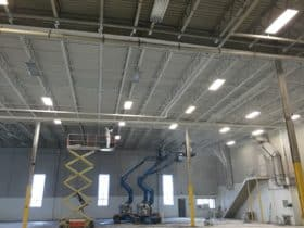 Industrial Painting before and after of ceiling