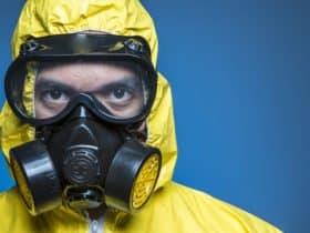 Biohazard hazmat suit