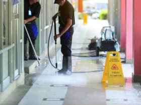 Pressure washing floor care
