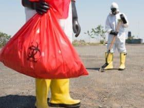 Full hazmat suit biohazard cleanup