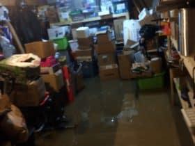 Flood damaged storage basement