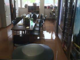 Water damaged office breakroom