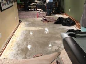 Water damage carpet removal